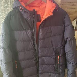 Orange and navy MK puffer coat orange navy